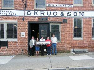 G. Krug & Son Ironworks, Baltimore City MHT staff with Joanne Shephard and Peter Krug of Krug Iron Works