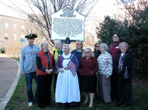 Stuart Grosvenor and members of the  Janet Montgomery Chapter of the DAR  dedicate the new Richard Montgomery  marker in Rockville.  Photo courtsey of Nancy Kurtz, MHT