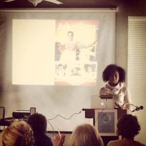 Azie Dungey presenting at the Unsettling Nuances and Uncomfortable Truths workshop on March 17, 2014.