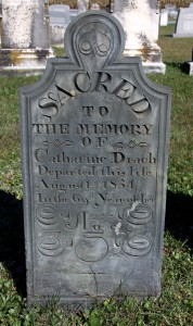 The standard style of gravestone Hammond carved from the 1830s into the early 1840s