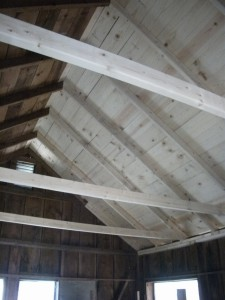 Roof of one of the cabins after extensive repair.