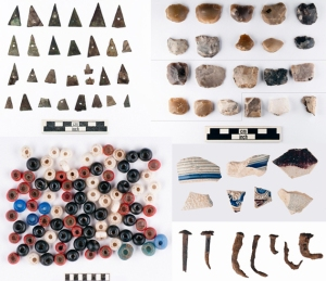Brass points, gunflints, glass beads, ceramics, and nails from Heater's Island.
