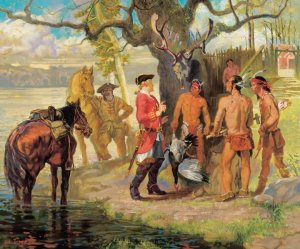 Vandercastle and Harrison meet the Piscataway in 1699 (painting by William Woodward).