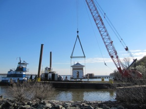 Watch Box being lifted on to the barge at NSF Indian Head. Photo courtesy of Thomas Wright, NSF Indian Head