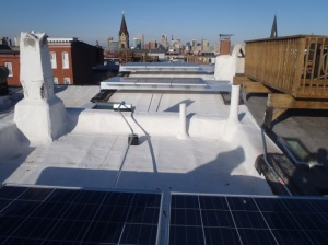 Flat roofs can be used for solar infrastructure.