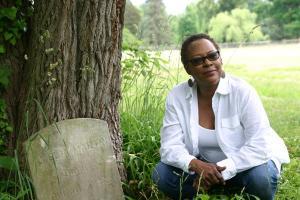 Amelia Martin tombstone, African American burial ground. Photo credit: Dalyn Huntley