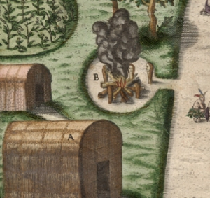 Theodor de Bry engraving of a John White watercolor, possibly showing an ossuary at Secotan.